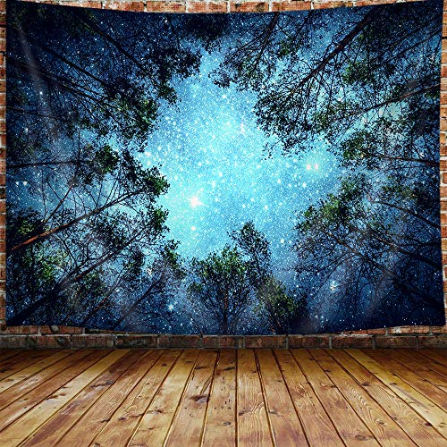 """Forest Starry Small Tapestry for Men, Trippy Space Galaxy Star Night Sky Cool Tapestry Wall Hanging for Bedroom, Hippie Tapestry Beach Blanket College Dorm Home Decor (60""""W X 40""""H)"""