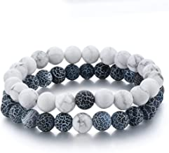 Distance Bracelet Black Matte Agate & White Howlite 8mm Beads His and Hers Relationship Friendship Couple Bracelets