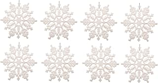 Plastic Snowflake Ornaments 7inch 12pcs Sparkling White Iridescent Glitter Snowflake Ornaments on String Hanger for Decorating, Crafting,Wedding and Embellishing(7inch, White)