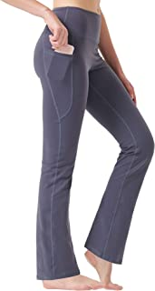 Zeronic Women's High Waist Bootcut Yoga Pants with Pockets Tummy Control Workout Running Pants Long Bootleg Flare Pants