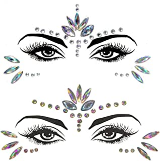 2 Sets Mermaid Face Gems Glitter for Women Masquerade Crystal Body Stickers Party Queen 3D Eye DIY Temporary Rhinestone Jewelry