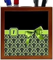 Rikki Knight Letter I Lime Green Monogram Damask Bow Design 5-Inch Tile Wooden Tile Pen Holder (RK-PH41868) [並行輸入品]