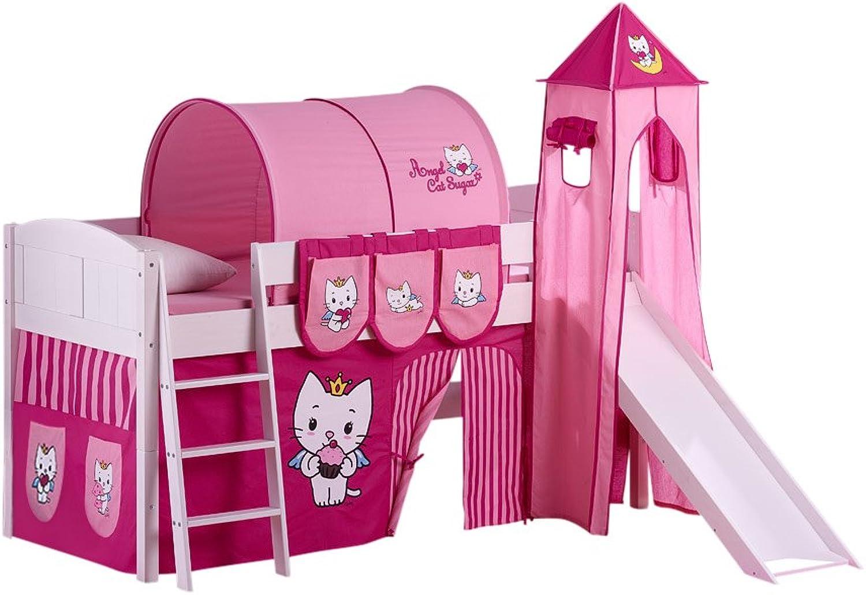 Lilokids Set Angebot - Spielbett IDA 4106 Angel Cat Sugar mit Rutsche - Teilbares Systemhochbett Wei - mit Vorhang, Turm, Tunnel und Taschen