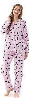 Miller & Jones Women's Cotton Pajamas Set, Long Sleeve Button Sleepwear Pj Lounge Wear Sets