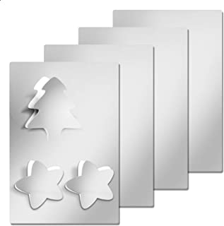 4 Pieces Flexible Cut to Size Mirror Sheet, Self Adhesive Non Glass Mirror Stickers - 6