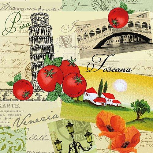 Ambiente Papierservietten - Servietten Lunch / Party / ca. 33x33cm Collage Italia - Ideal Als Geschenk Und Tisch-Deko