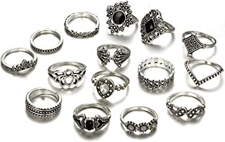 Deniferymakeup Vintage Silver Rings Fashion Lotus Engraving Ring Sunflower Ring Black Gemstone Ring Set Finger Accessories Jewelry Set Dainty Rainbow Moonstone Silver Tone Ring Set (Set of 15)