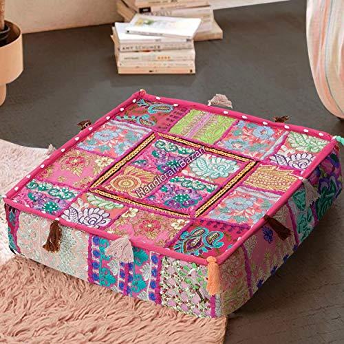 Handicraft Bazarr Funda de cojín vintage con diseño de retazos tradicionales para sofá, funda de cojín de algodón hippie para decoración del hogar, funda de cojín oriental de 45,7 cm