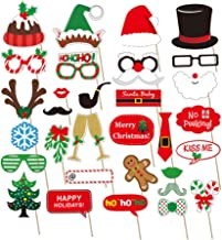 LISAUYD Christmas Photo Booth Props 32 Pieces, DIY Kits Christmas Decorations Dress-up Backdrop Decoration Décor Party Favors Supplies New Years for Children and Adult