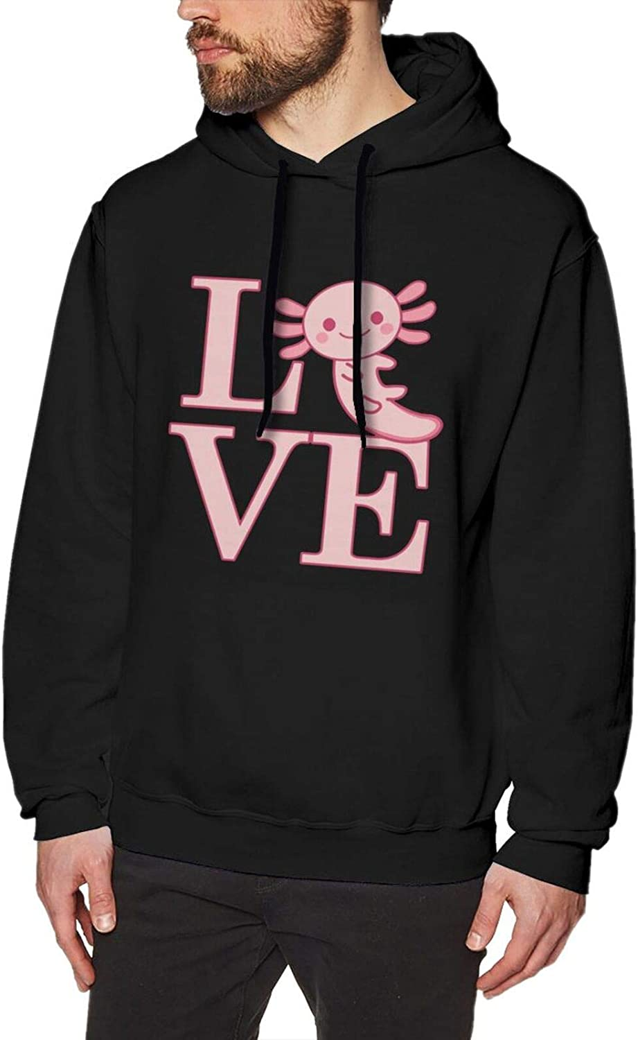 Cartoon famous Pink Axolotl Men Ultimate Cotton Slim Discount mail order Fit Hoodie Lo With