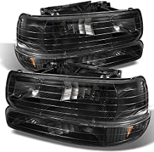4 Pieces Combo For 99-02 Sivlerado 2000-2006 Suburban Tahoe Black Headlights Front Lamps + Bumper Signal Lights Pair