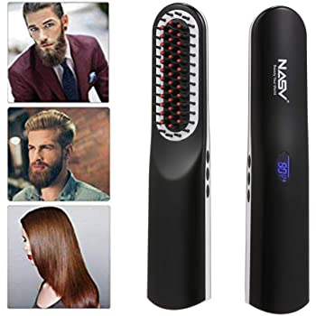 Hair Straightening Brush, Anself Beard Straightening Brush USB Rechargeable Wireless Ceramic Ion Hair Straightener Curling Iron Comb with LCD Display,