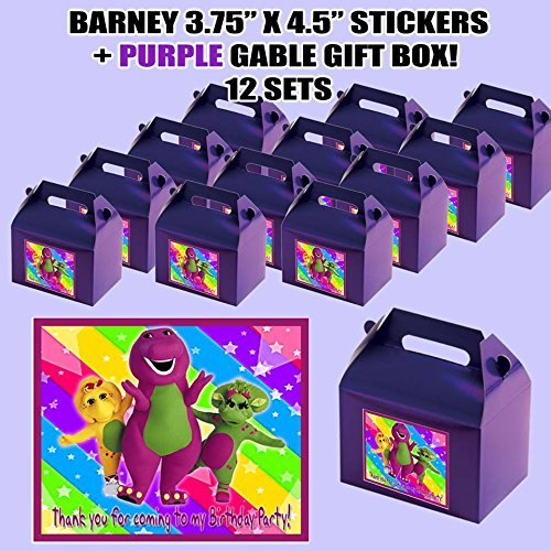 Barney Baby Bop Dinosaur Party Favor Boxes with Thank you Decals Stickers Loots Purple Birthday Shower 12 PIECES GREAT SELLER