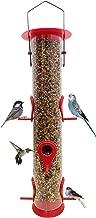 Bird Feeder Hanging Classic Tube Hanging Feeders with 6 Feeding Ports Premium Hard Plastic with Steel Hanger Weatherproof and Water Resistant Great for Attracting Birds Outdoors Garden Backyard