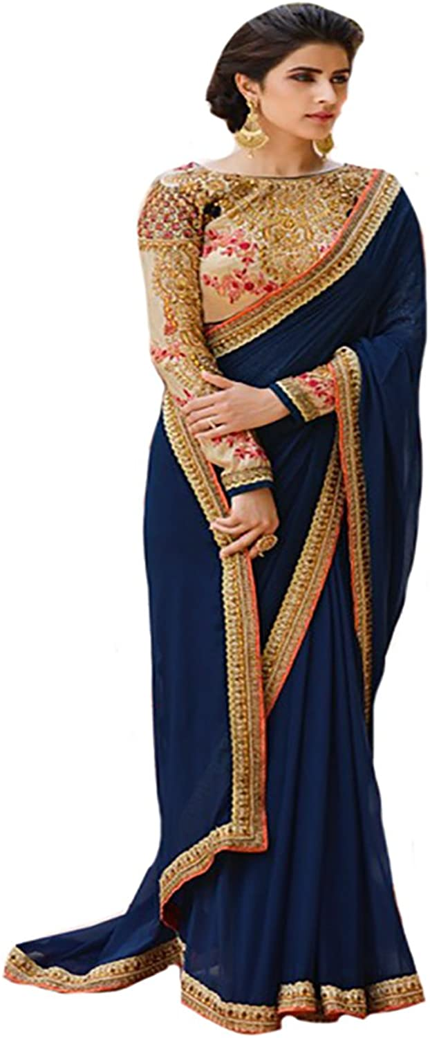 BOLLYWOOD STYLISH SAREE SARI WITH BLOUSE WEDDING CEREMONY PARTY WEAR MUSLIM 8102 ds