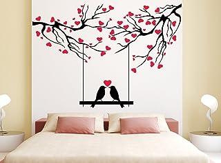 Wallstick 'Love Birds Under Love Tree' Wall Sticker (Vinyl, 49 cm x 4 cm x 4 cm)