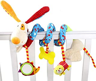 YECGJZN Crib toy Baby Toy Bed Hanging Plush Fabric Rattle Toy Animal Car Hanging Bed Pendant Puppy Bed Around Baby Fabric Toy