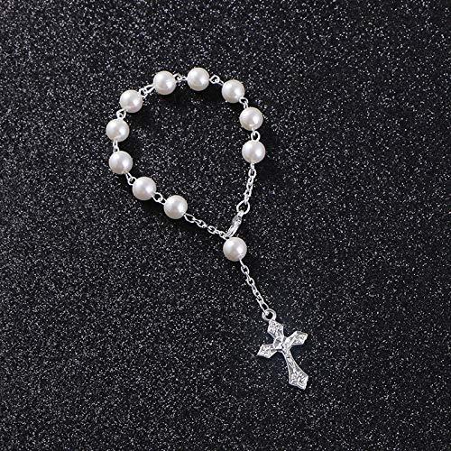Braccialetti Rosario Imitazione Perle Di Vetro Bianco Religioso Battesimo Del Bambino Mini Braccialetto Cattolico Bomboniere Gioielli In Preghiera