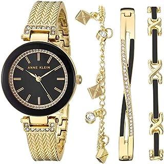 ساعت مچی زنانه Anne Klein - دارای سه دستبند با کریستال های سواروسکی و موتور کواترز ژاپنی ، صفحه نمایش آنالوگ