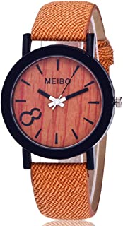 store MEIBO Modeling Wooden Quartz Watch Casual Wooden Color Leather Watch for Mens (Yellow)