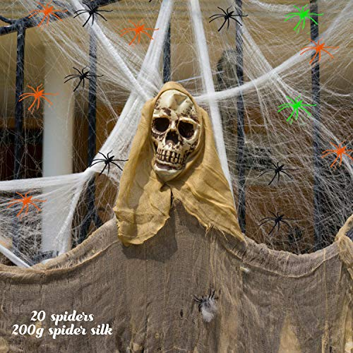 Happylohas Ragnatela Estensibile Decorazioni di Halloween, Ragnatela 200g, con 20 Ragni, Decorazioni Halloween, Crea un'atmosfera di Orrore (bianca04)