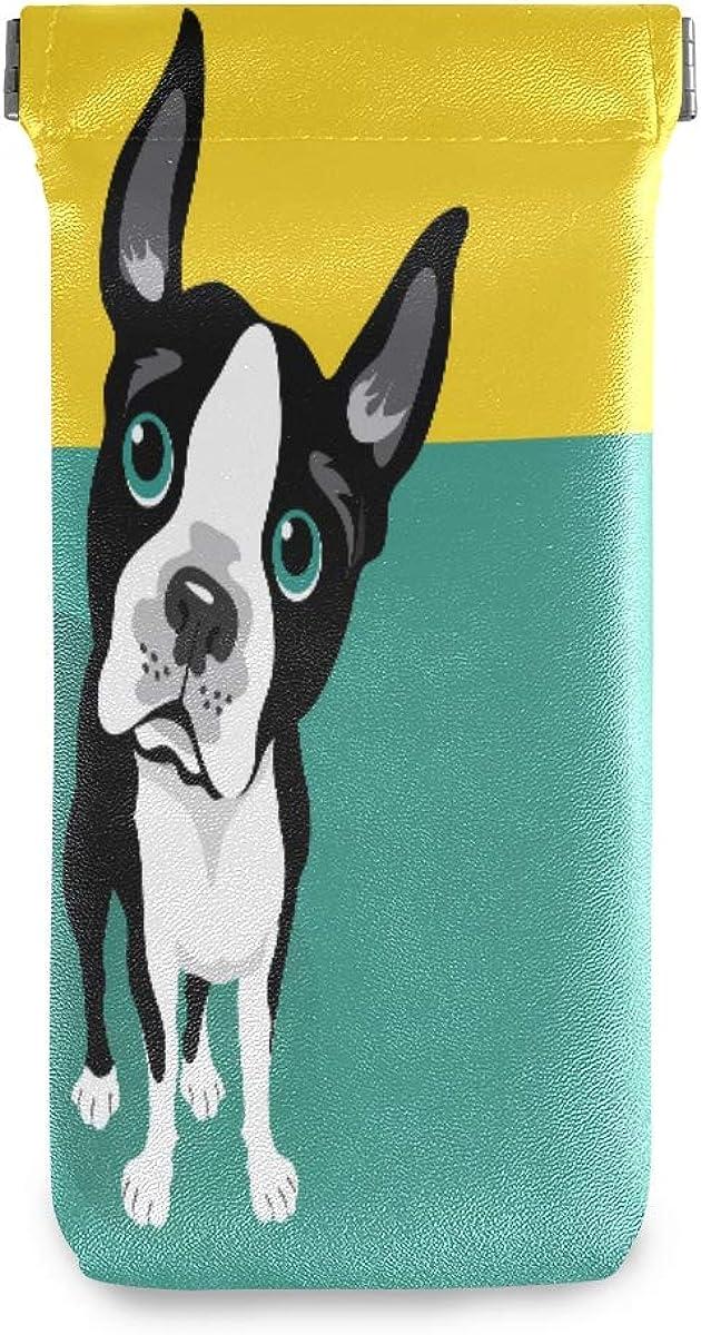 BETTKEN Sunglass Pouch Funny Boston Terrier Animal Dog Portable