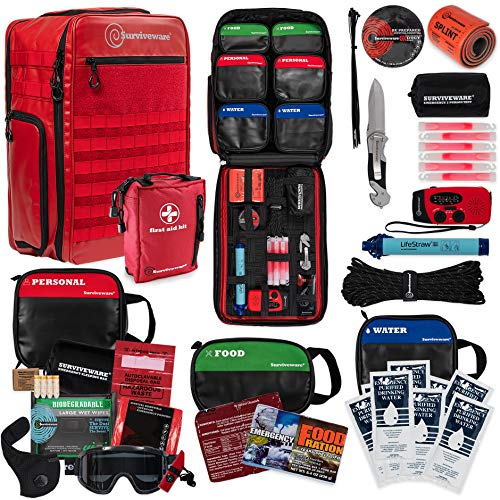 Surviveware 72 Hour Emergency Preparedness Backpack for 2 People, Red