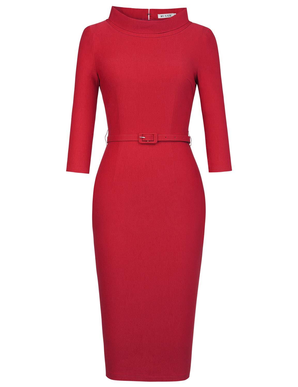 Red Dress - Women's Classic Retro V Neck Half Sleeve Sheath Formal Juniors Dress