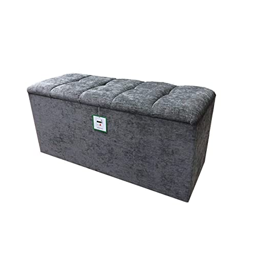 Ottomans Lucia Storage Chest Grey Fabric: Large Storage Ottoman: Amazon.co.uk