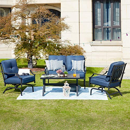 Patio Festival 4 Pices Patio Furniture Conversation Set,Metal Outdoor Furniture Set w/All Weather Cushioned Loveseat,Poolside Lawn Chairs,Coffee Table Alaska