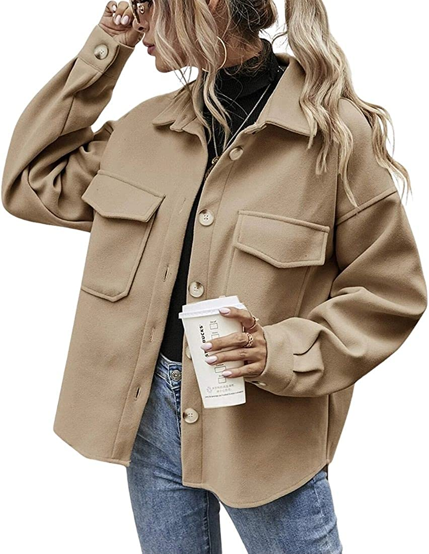 Kwoki Fashion Womens Casual Button Down Flannel Jacket Coat Long Sleeves Lapel Collar Solid Outwear Shackets