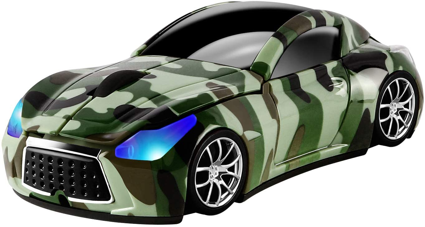 Usbkingdom 2.4GHz Wireless Mouse Sport Car Shape Mobile Optical Gaming Mouse with USB Receiver 1600DPI 3 Buttons for PC Laptop Computer (Camouflage Green)