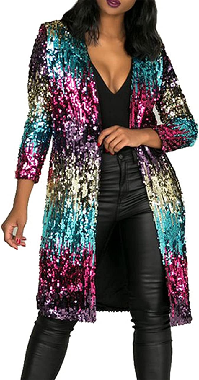 - 610 - Long Sleeves Full Sequins Open Front Cardigan Cover-up Jacket Coat