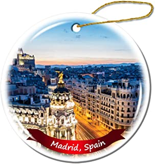Fhdang Decor Madrid Spain Christmas Ornament Porcelain Double-Sided Ceramic Ornament,3 Inches