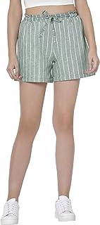 Martini Women Casual Stylish Stripe Front Drawstring Shorts (Olive Green and White, Size : 28-34)