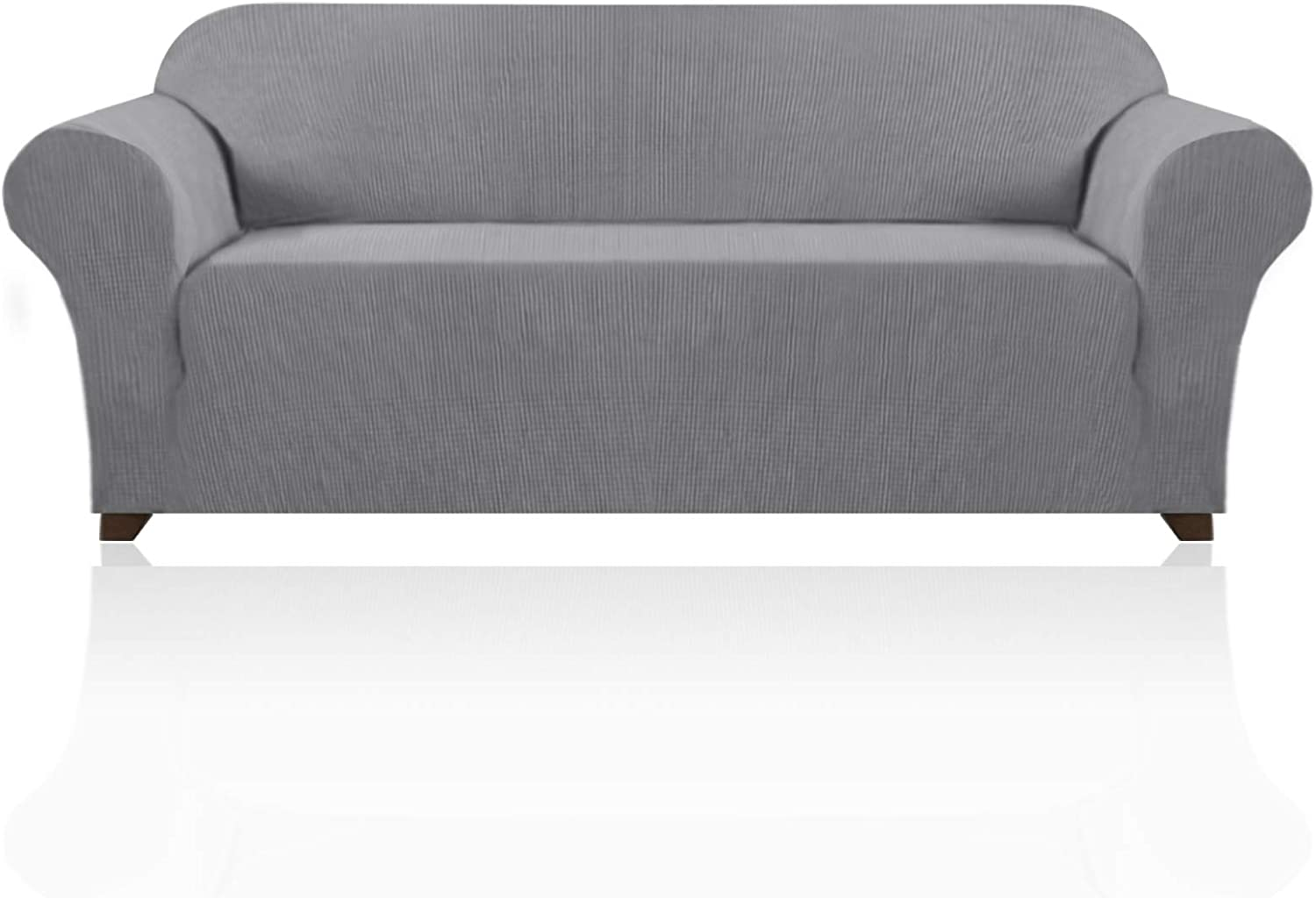 Stretch Sofa Slipcover 1 Piece Sofa Cover for 3 Cushion Couch Furniture Protector/Cover Couch with Elastic Bottom Soft and Durable Sofa Cover Pet Protector (Sofa, Dove)