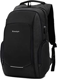 Xnuoyo Travel Laptop Backpack  15 6 Inch Business Anti Theft Lock Slim Durable Laptops Backpack with USB Charging Port Headphone Hole  Water Resistant College School Computer Bag for Women Men  Black