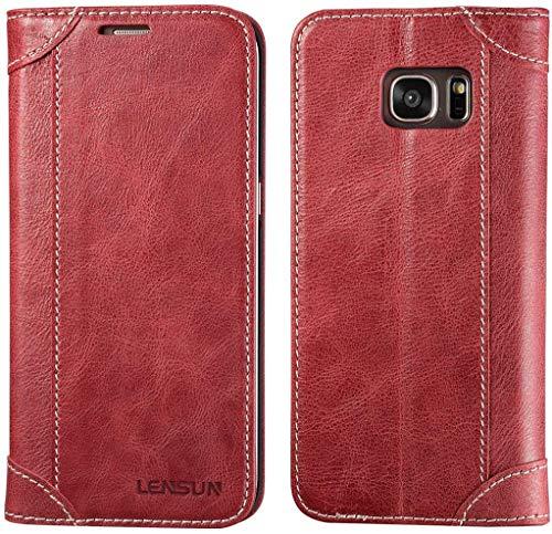 LENSUN Echtleder Hülle für Samsung Galaxy S7 Edge, Echtes Leder Handyhülle Handytasche mit Magnetverschluss S7 Edge Lederhülle (5,5 Zoll) - Wein Rot