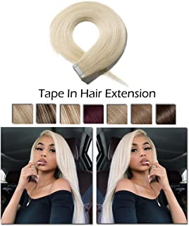 "Tape In Hair Extension Human Hair 18"" Platinum Blonde 20pcs 30g Set Highlighted Remy Tape In Human Hair Extension With Double Side Tape Silky Straight Skin Weft Brazilian Hair Seamless Glue(18"",#60)"