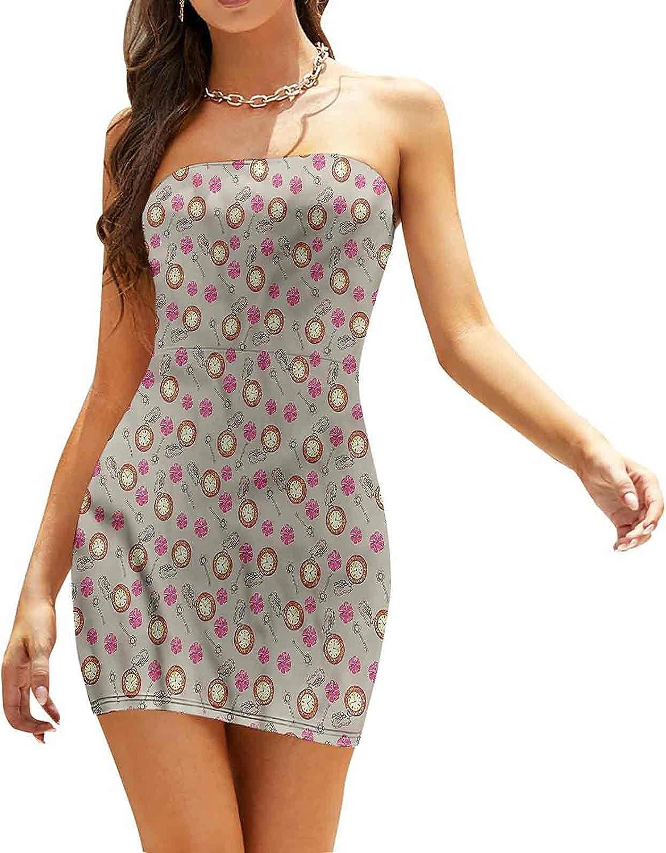 Women's Sleeveless Sexy Tube Top Dress Technical Theme Clock Dresses