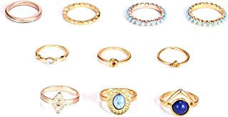 10PCS Bohemian Retro Vintage Crystal Joint Knuckle Ring Sets Finger Rings