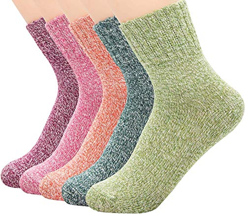 Juanssifer Wollsocken - Wintersocken - Damen Mädchen - Verschiedene Farben Modische Bunte - Einheitsgröße Atmungsaktiv Warm Weich Premium Qualität Socken 5 pack (Pure)