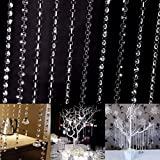 Edal 33ft/10M Wedding DIY Decor Living Room Diamond Acrylic Crystal Beads Curtain