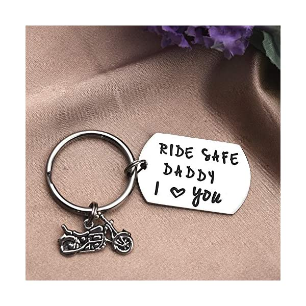 LParkin Ride Safe Daddy Keychain Motorcycle Gift Dad Keychain I Love You Daddy Keychains Gift for Dad Motorcycles