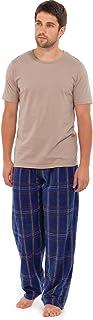 Best Deals Direct Mens Pyjamas Nightwear Short Sleeve top & Fleece Pants Trousers Warm Stripe