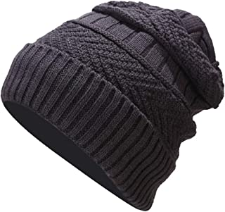 SHORY Men Women Winter Knitted Beanie Hat Solid Color Cozy Warm Slouchy Ski Cap Outdoors Windproof Skull Ski Cap