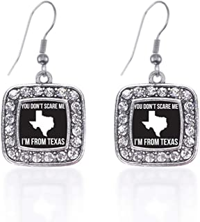 Silver Square Charm French Hook Drop Earrings with Cubic Zirconia Jewelry