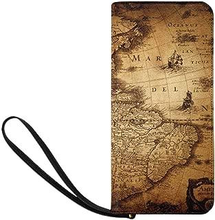 Old Map of World Womens Clutch Wallet Large Wristlet Zipper Clutch Large Travel Purse