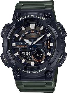 Casio Men's Black Dial Resin Band Watch - AEQ-110W-3AVDF