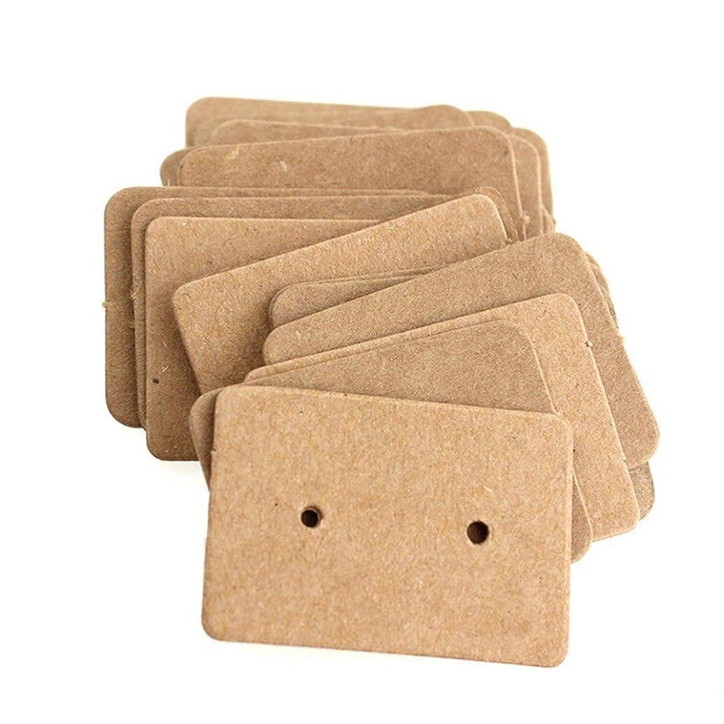 AKOAK 100 Pcs 2.5 x 3.5 Cm Brown Kraft Paper Earring Display Hang Cards Ear Studs Display Hang Tag